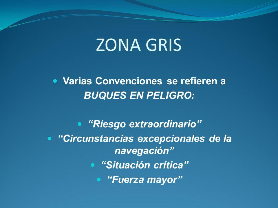 ZONA GRIS Varias Convenciones se refieren a BUQUES EN PELIGRO: Riesgo extraordinario Circunstancias excepcionales de la navegación Situación crítica F