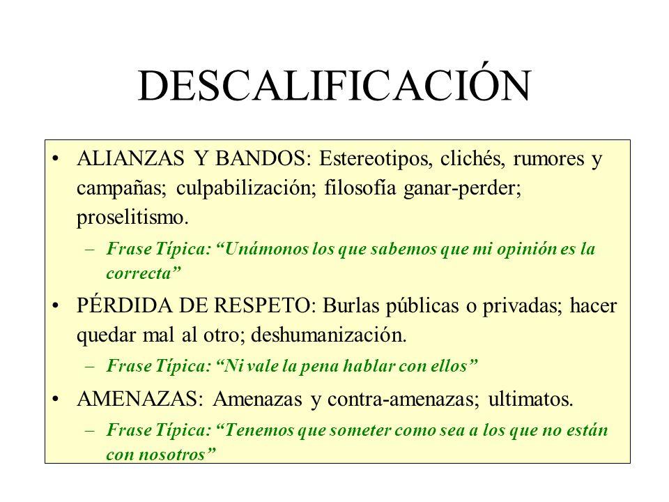 DESCALIFICACIÓN ALIANZAS Y BANDOS: Estereotipos, clichés, rumores y campañas; culpabilización; filosofía ganar-perder; proselitismo.