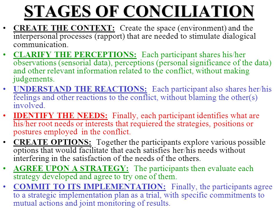 STAGES OF CONCILIATION CREATE THE CONTEXT: Create the space (environment) and the interpersonal processes (rapport) that are needed to stimulate dialogical communication.
