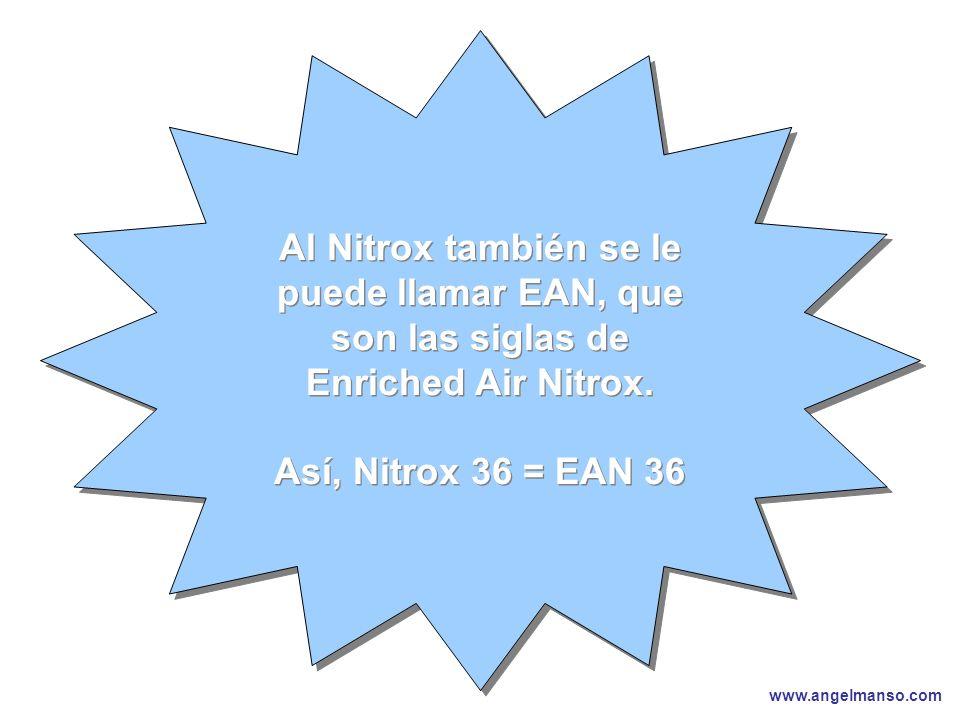 www.angelmanso.com Esta presentación pertenece a Angel Manso Madrid, domingo 1 de octubre de 2006 Al Nitrox también se le puede llamar EAN, que son las siglas de Enriched Air Nitrox.