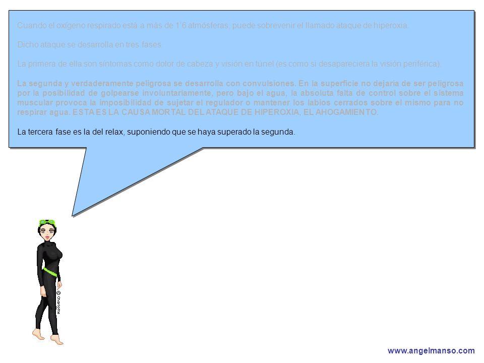 www.angelmanso.com Esta presentación pertenece a Angel Manso Madrid, domingo 1 de octubre de 2006 Cuando el oxígeno respirado está a más de 16 atmósferas, puede sobrevenir el llamado ataque de hiperoxia.