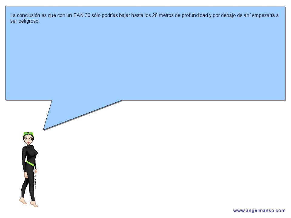www.angelmanso.com Esta presentación pertenece a Angel Manso Madrid, domingo 1 de octubre de 2006 La conclusión es que con un EAN 36 sólo podrías bajar hasta los 28 metros de profundidad y por debajo de ahí empezaría a ser peligroso.