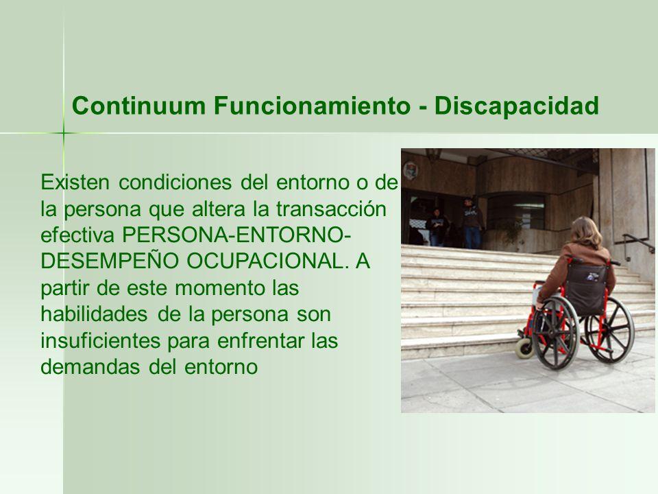Existen condiciones del entorno o de la persona que altera la transacción efectiva PERSONA-ENTORNO- DESEMPEÑO OCUPACIONAL. A partir de este momento la