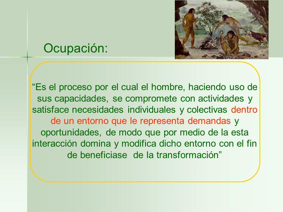 Ocupación: Es el proceso por el cual el hombre, haciendo uso de sus capacidades, se compromete con actividades y satisface necesidades individuales y