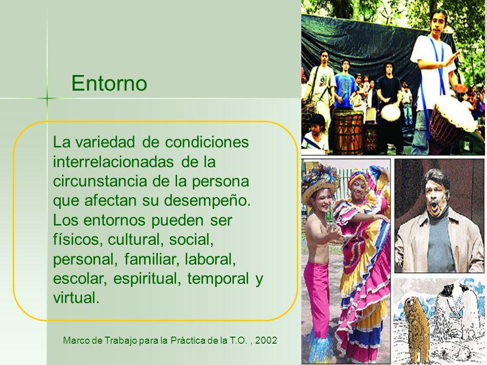 DESEMPEÑO OCUPACIONAL (AVD, TRABAJO, RECREACIÓN, EDUCACIÓN) Cognitivo Psicosocial Sensoriomotor Físico Socio económico Cultural PERSONA Componentes de Desempeño ENTORNO Contexto de desempeño ADAPTADO DEL MODELO DEL COMPORTAMIENTO MOTOR DESDE LA TO (Mathiowetz & Bas-Haugen, 2002) Demandas Transformación/ Adaptación