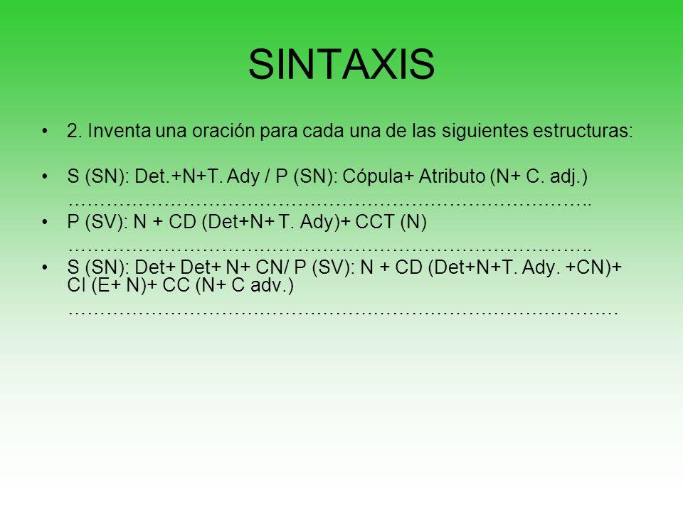 SINTAXIS 2. Inventa una oración para cada una de las siguientes estructuras: S (SN): Det.+N+T. Ady / P (SN): Cópula+ Atributo (N+ C. adj.) ……………………………