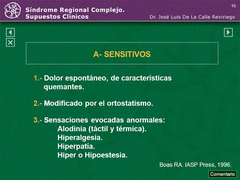 3.- Sensaciones evocadas anormales: Alodinia (táctil y térmica). Hiperalgesia. Hiperpatía. Hiper o Hipoestesia. Boas RA. IASP Press, 1996. A- SENSITIV