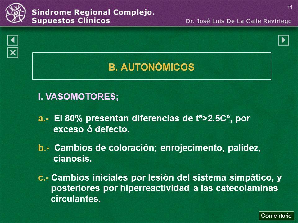 I. VASOMOTORES; a.- El 80% presentan diferencias de tª>2.5Cº, por exceso ó defecto. b.- Cambios de coloración; enrojecimento, palidez, cianosis. c.- C