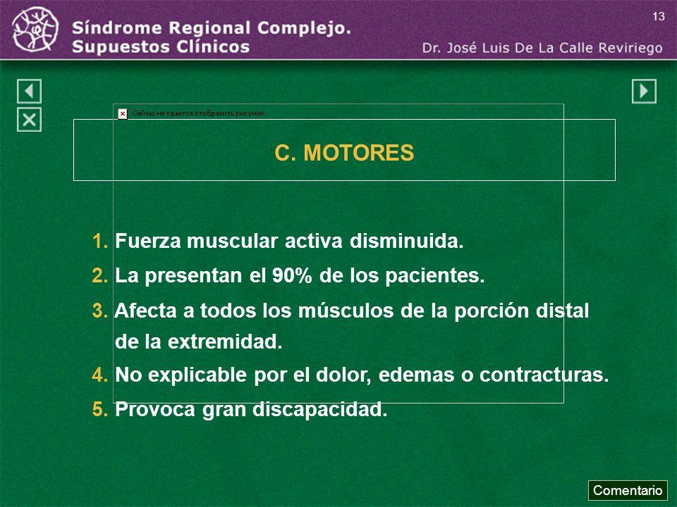 1. Fuerza muscular activa disminuida. 2. La presentan el 90% de los pacientes. 3. Afecta a todos los músculos de la porción distal de la extremidad. 4