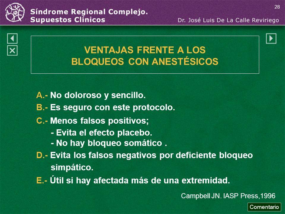 A.- No doloroso y sencillo. B.- Es seguro con este protocolo. C.- Menos falsos positivos; - Evita el efecto placebo. - No hay bloqueo somático. D.- Ev