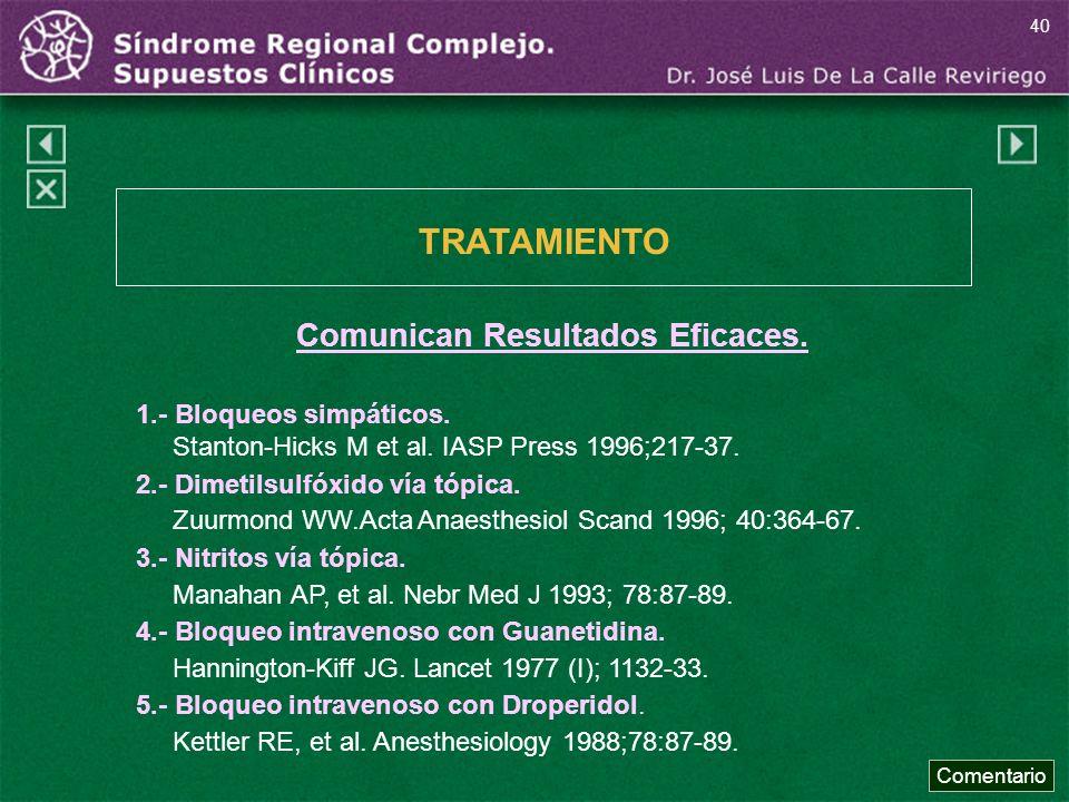 Comunican Resultados Eficaces. 1.- Bloqueos simpáticos. Stanton-Hicks M et al. IASP Press 1996;217-37. 2.- Dimetilsulfóxido vía tópica. Zuurmond WW.Ac