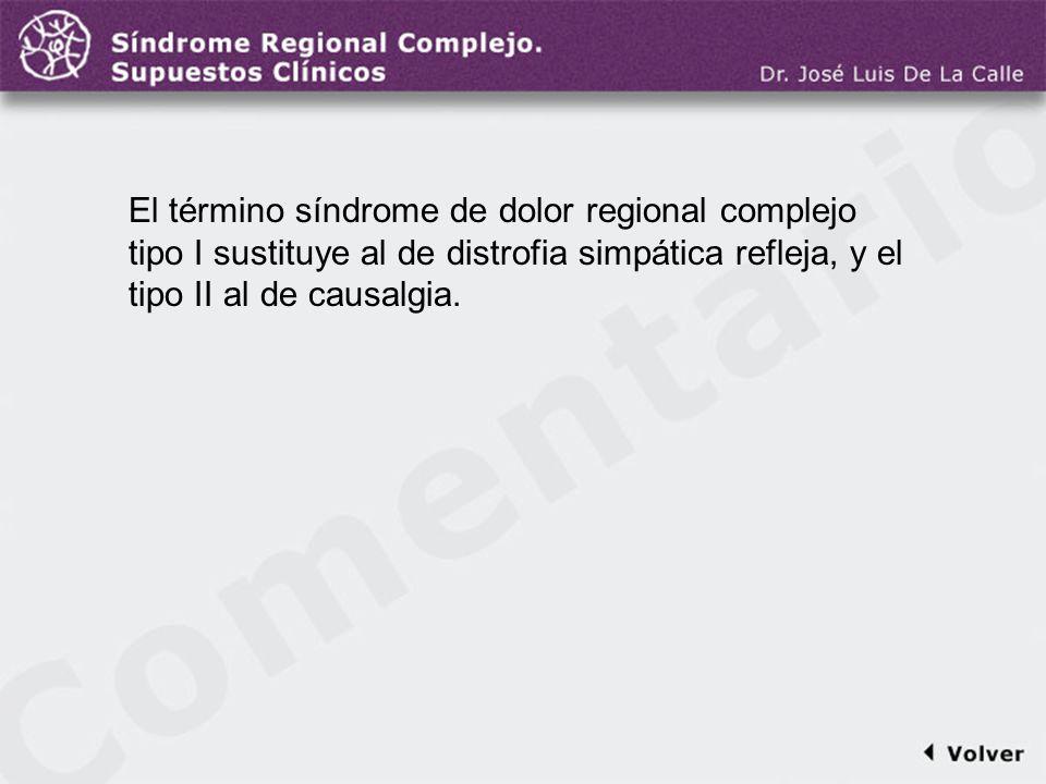 Comentario a la diapo4 El término síndrome de dolor regional complejo tipo I sustituye al de distrofia simpática refleja, y el tipo II al de causalgia