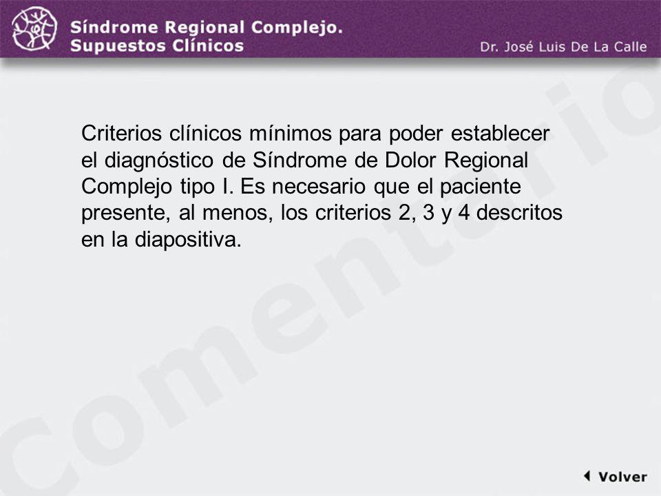 Comentario a la diapo5 Criterios clínicos mínimos para poder establecer el diagnóstico de Síndrome de Dolor Regional Complejo tipo I. Es necesario que