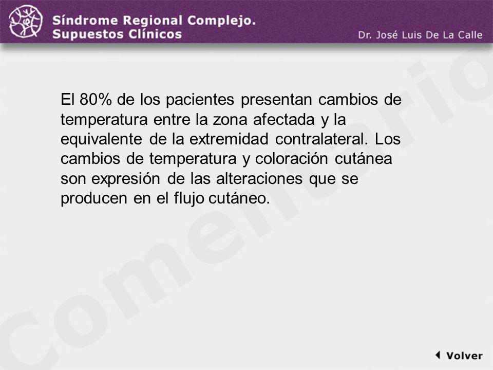 Comentario a la diapo12 El 80% de los pacientes presentan cambios de temperatura entre la zona afectada y la equivalente de la extremidad contralatera