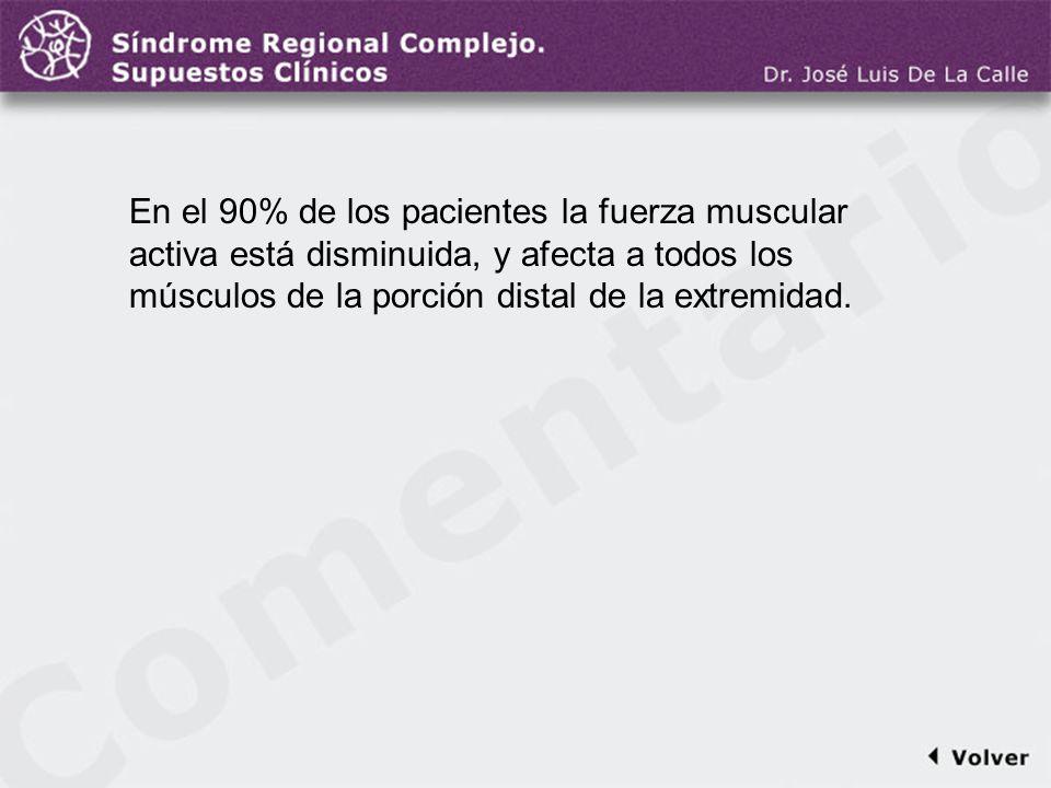 Comentario a la diapo14 En el 90% de los pacientes la fuerza muscular activa está disminuida, y afecta a todos los músculos de la porción distal de la