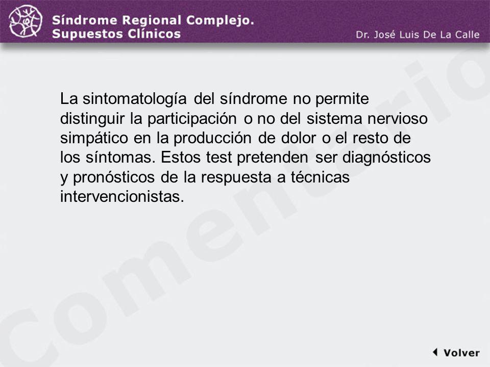Comentario a la diapo24 La sintomatología del síndrome no permite distinguir la participación o no del sistema nervioso simpático en la producción de
