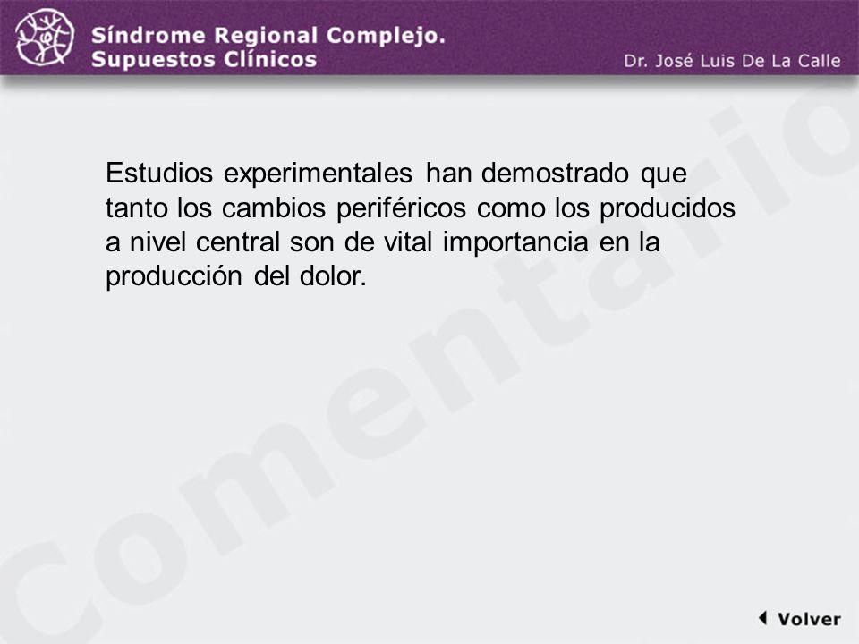 Comentario a la diapo40 Estudios experimentales han demostrado que tanto los cambios periféricos como los producidos a nivel central son de vital impo