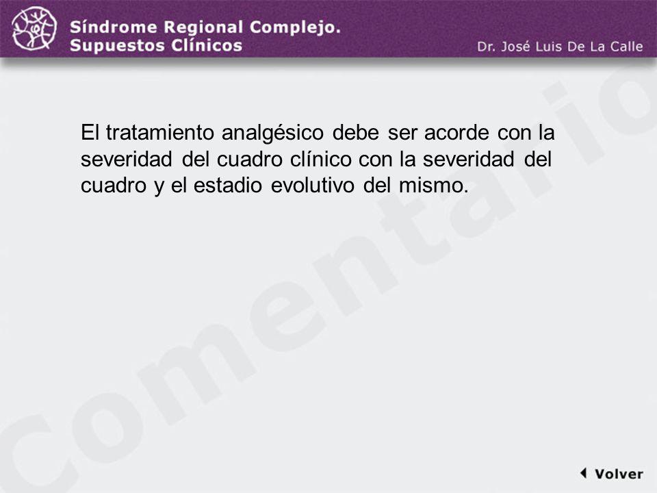 Comentario a la diapo44/45 El tratamiento analgésico debe ser acorde con la severidad del cuadro clínico con la severidad del cuadro y el estadio evol