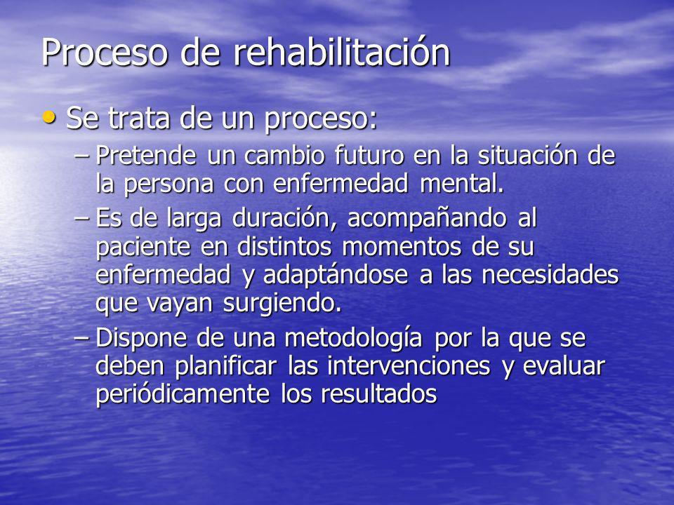 Se trata de un proceso: Se trata de un proceso: –Pretende un cambio futuro en la situación de la persona con enfermedad mental.