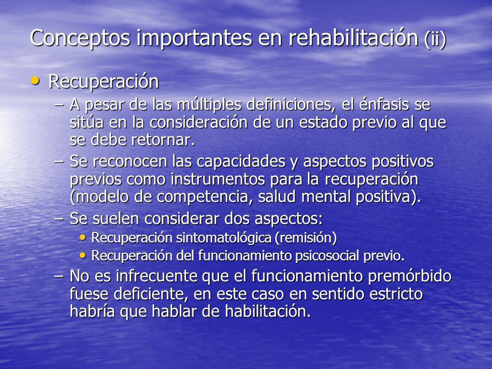 Recuperación Recuperación –A pesar de las múltiples definiciones, el énfasis se sitúa en la consideración de un estado previo al que se debe retornar.