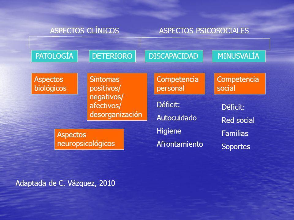 ASPECTOS CLÍNICOSASPECTOS PSICOSOCIALES PATOLOGÍADETERIORODISCAPACIDADMINUSVALÍA Aspectos biológicos Aspectos neuropsicológicos Competencia personal Competencia social Síntomas positivos/ negativos/ afectivos/ desorganización Déficit: Autocuidado Higiene Afrontamiento Déficit: Red social Familias Soportes Adaptada de C.