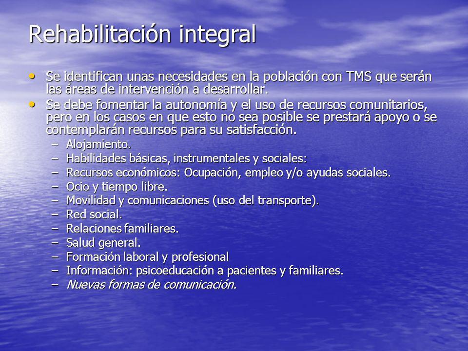 Rehabilitación integral Se identifican unas necesidades en la población con TMS que serán las áreas de intervención a desarrollar.