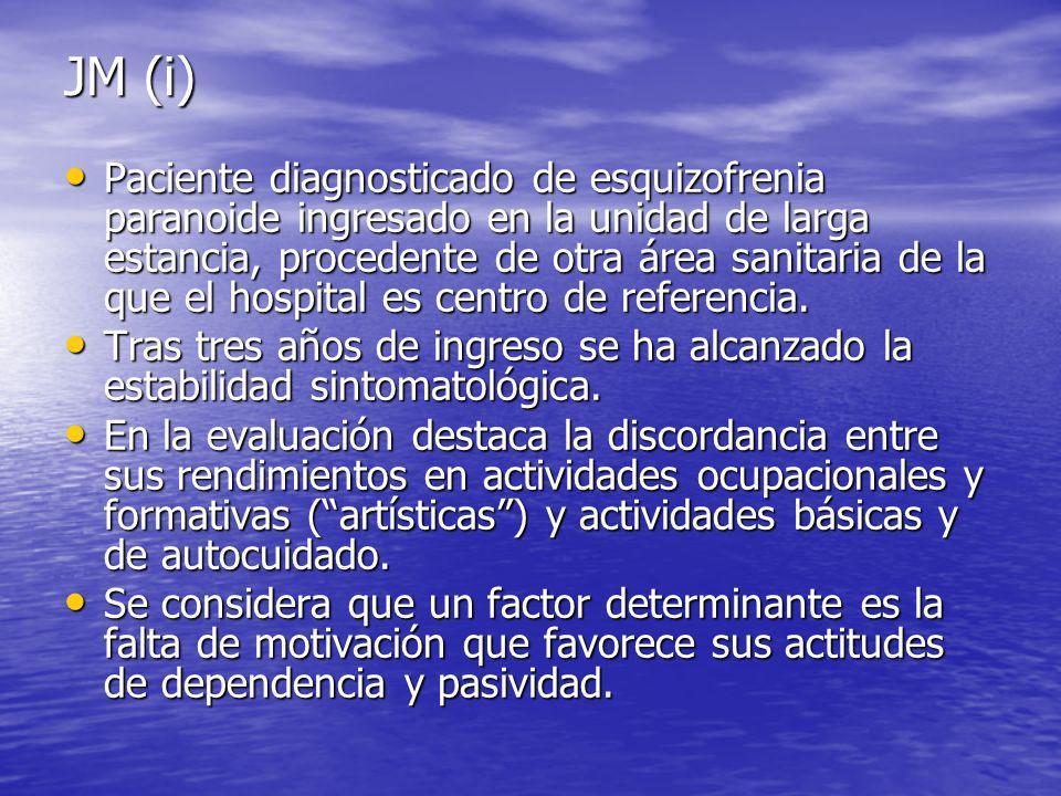 JM (i) Paciente diagnosticado de esquizofrenia paranoide ingresado en la unidad de larga estancia, procedente de otra área sanitaria de la que el hospital es centro de referencia.