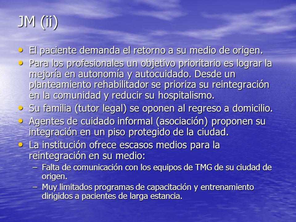 JM (ii) El paciente demanda el retorno a su medio de origen.