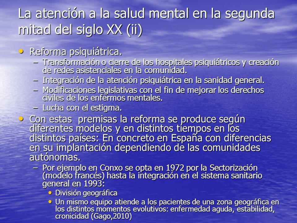 La atención a la salud mental en la segunda mitad del siglo XX (ii) Reforma psiquiátrica.