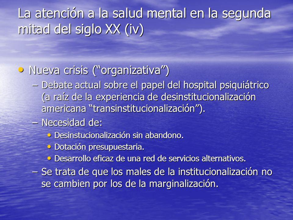 Nueva crisis (organizativa) Nueva crisis (organizativa) –Debate actual sobre el papel del hospital psiquiátrico (a raíz de la experiencia de desinstitucionalización americana transinstitucionalización).