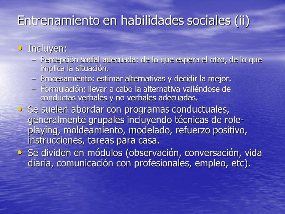 Entrenamiento en habilidades sociales (ii) Incluyen: Incluyen: –Percepción social adecuada: de lo que espera el otro, de lo que implica la situación.