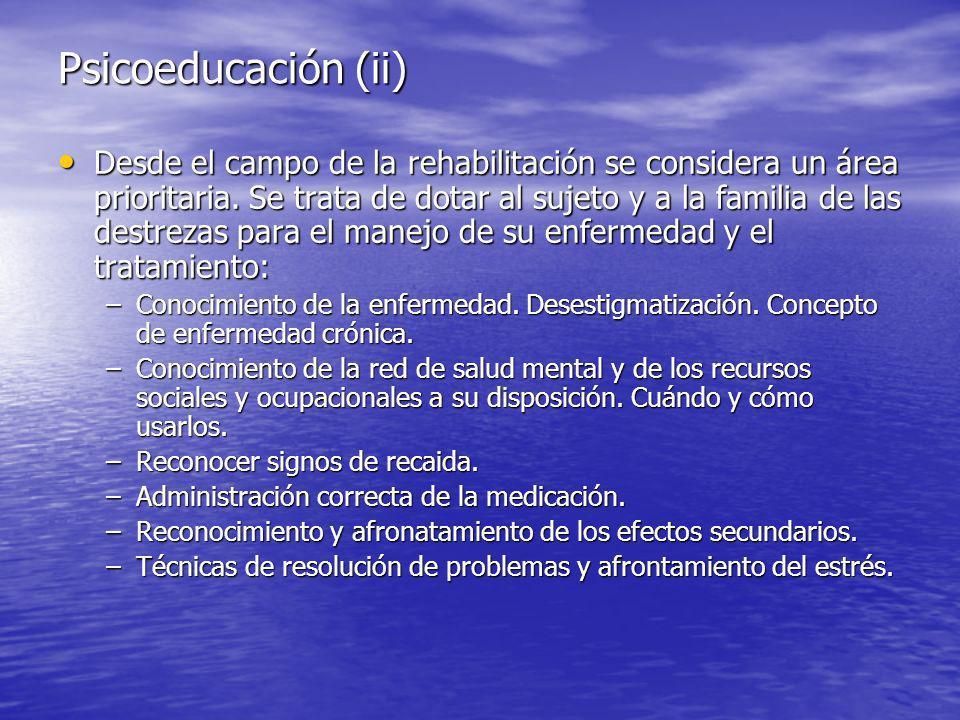 Psicoeducación (ii) Desde el campo de la rehabilitación se considera un área prioritaria.