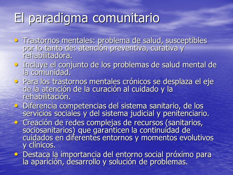 El paradigma comunitario Trastornos mentales: problema de salud, susceptibles por lo tanto de: atención preventiva, curativa y rehabilitadora.
