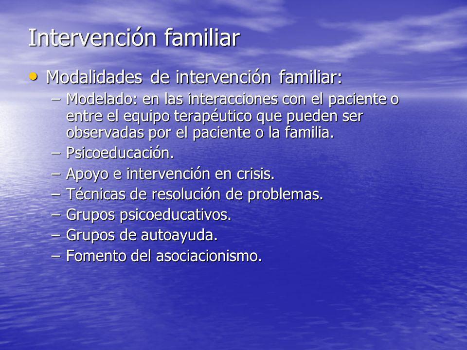 Modalidades de intervención familiar: Modalidades de intervención familiar: –Modelado: en las interacciones con el paciente o entre el equipo terapéutico que pueden ser observadas por el paciente o la familia.