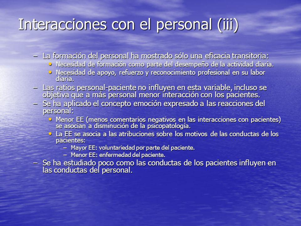 Interacciones con el personal (iii) –La formación del personal ha mostrado sólo una eficacia transitoria: Necesidad de formación como parte del desempeño de la actividad diaria.