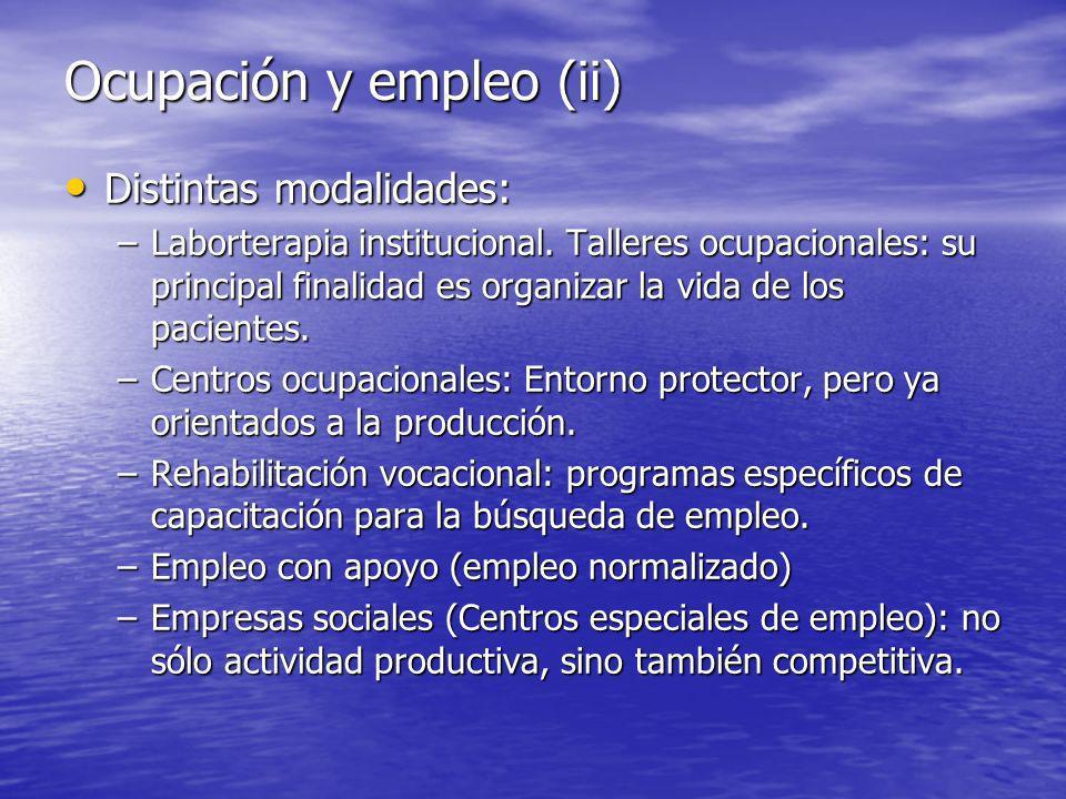 Ocupación y empleo (ii) Distintas modalidades: Distintas modalidades: –Laborterapia institucional.