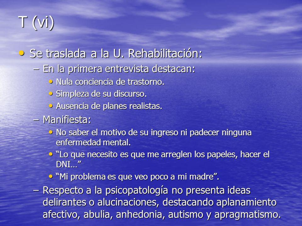 T (vi) Se traslada a la U.Rehabilitación: Se traslada a la U.
