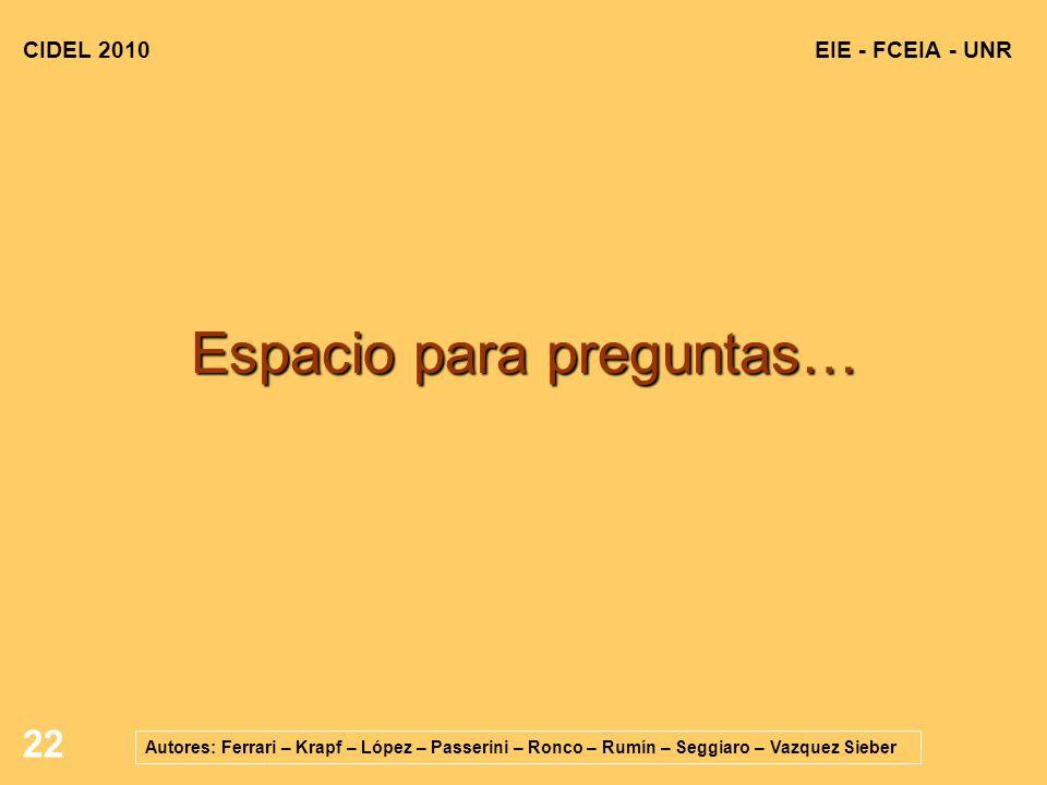 22 EIE - FCEIA - UNRCIDEL 2010 Autores: Ferrari – Krapf – López – Passerini – Ronco – Rumín – Seggiaro – Vazquez Sieber Espacio para preguntas…
