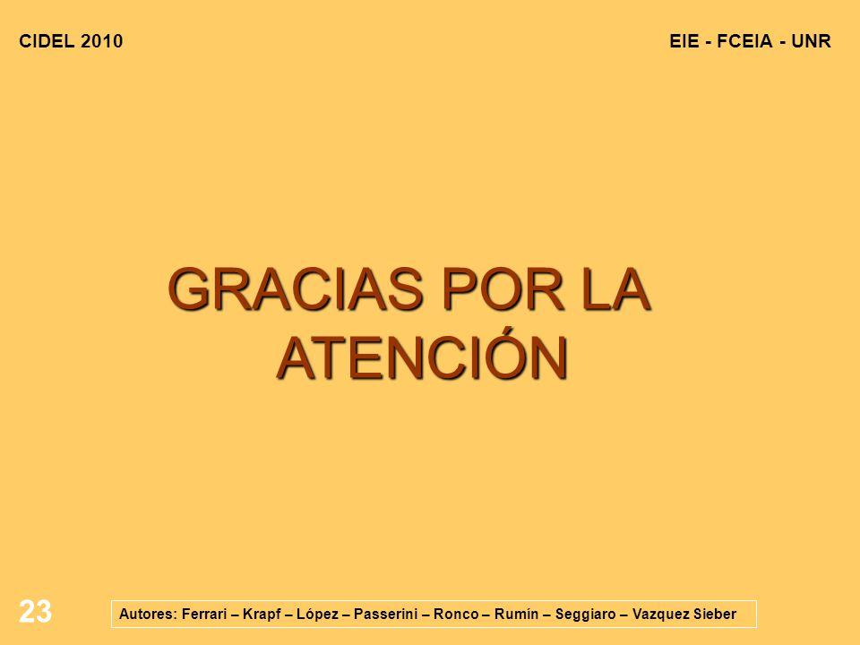 23 EIE - FCEIA - UNRCIDEL 2010 Autores: Ferrari – Krapf – López – Passerini – Ronco – Rumín – Seggiaro – Vazquez Sieber GRACIAS POR LA ATENCIÓN