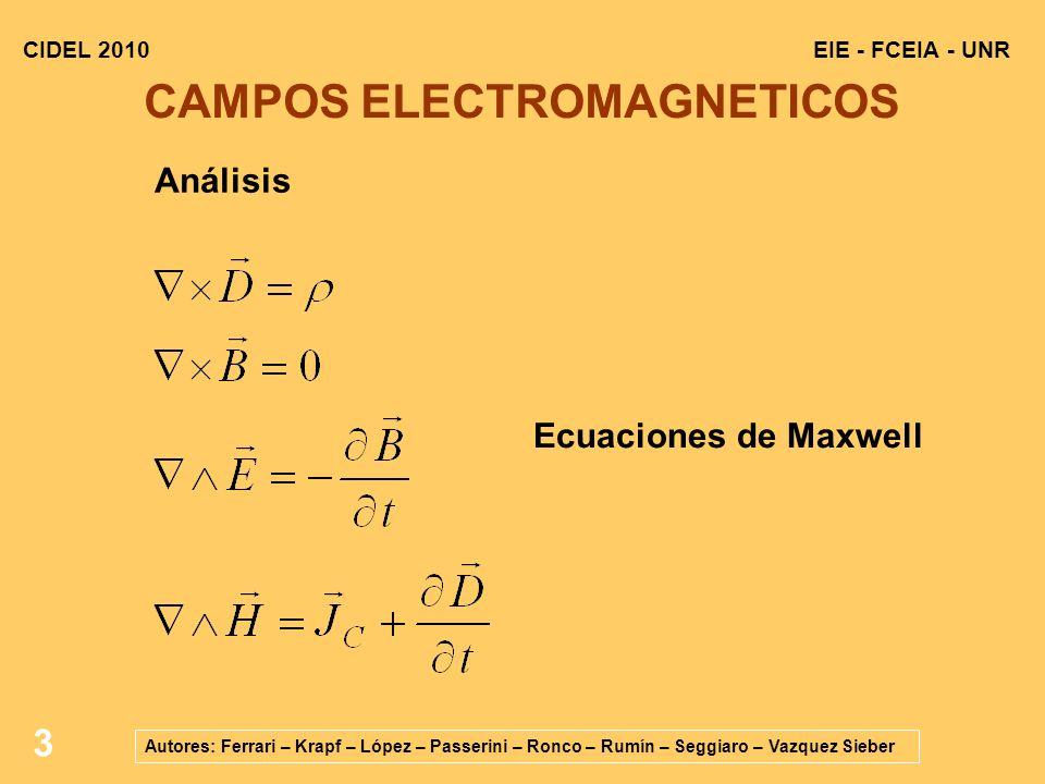 3 EIE - FCEIA - UNRCIDEL 2010 Autores: Ferrari – Krapf – López – Passerini – Ronco – Rumín – Seggiaro – Vazquez Sieber CAMPOS ELECTROMAGNETICOS Ecuaciones de Maxwell Análisis