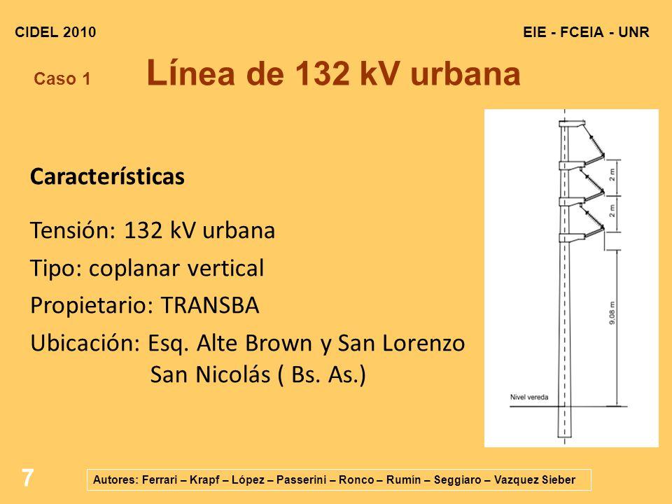 7 EIE - FCEIA - UNRCIDEL 2010 Autores: Ferrari – Krapf – López – Passerini – Ronco – Rumín – Seggiaro – Vazquez Sieber Caso 1 Lí nea de 132 kV urbana Características Tensión: 132 kV urbana Tipo: coplanar vertical Propietario: TRANSBA Ubicación: Esq.