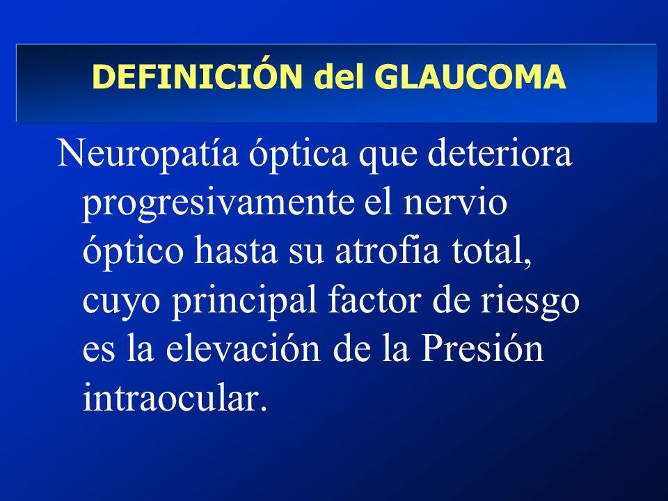 DEFINICIÓN del GLAUCOMA Neuropatía óptica que deteriora progresivamente el nervio óptico hasta su atrofia total, cuyo principal factor de riesgo es la