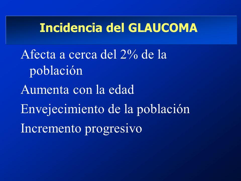 Incidencia del GLAUCOMA Afecta a cerca del 2% de la población Aumenta con la edad Envejecimiento de la población Incremento progresivo