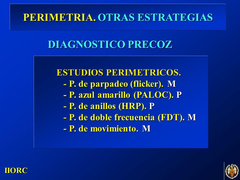 . IIORC ESTUDIOS PERIMETRICOS. - P. de parpadeo (flicker). M - P. de parpadeo (flicker). M - P. azul amarillo (PALOC). P - P. azul amarillo (PALOC). P