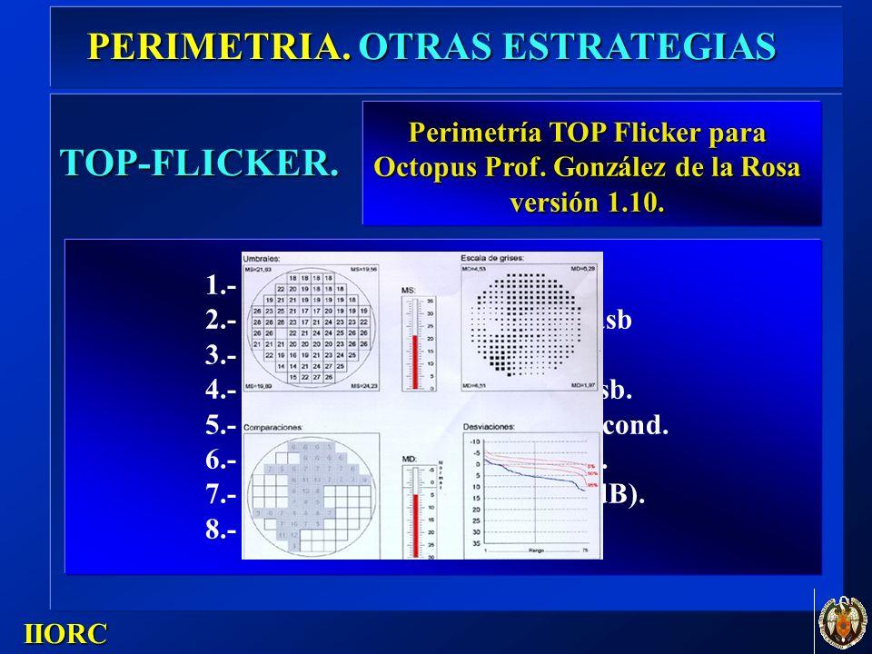 . IIORC TOP-FLICKER. 1.- Malla: OCTOPUS 32. 2.- Iluminacion de fondo: 31,5 asb 3.- Tamaño: Goldmann III. 4.- Intensidad constante: 4000 asb. 5.- Tiemp