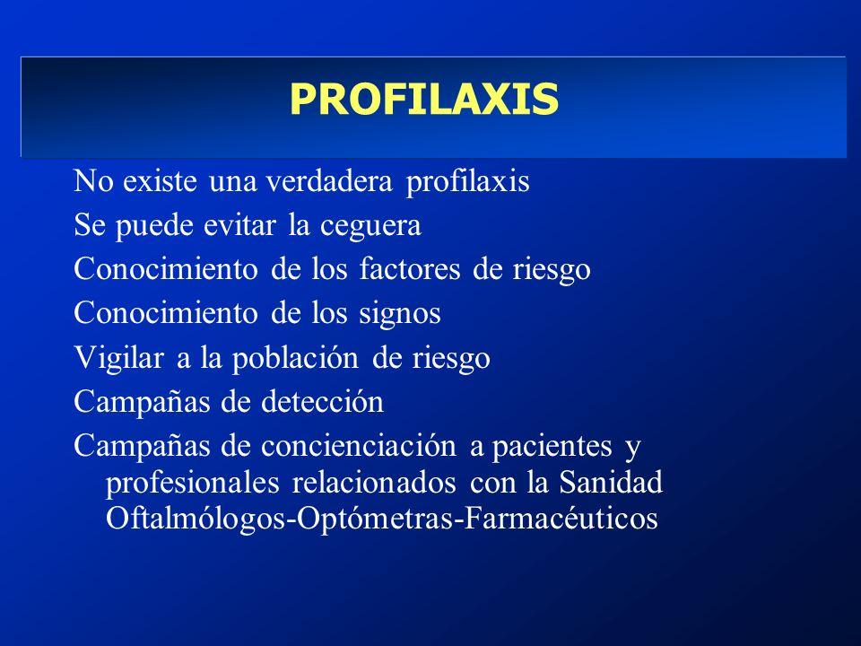 PROFILAXIS No existe una verdadera profilaxis Se puede evitar la ceguera Conocimiento de los factores de riesgo Conocimiento de los signos Vigilar a l