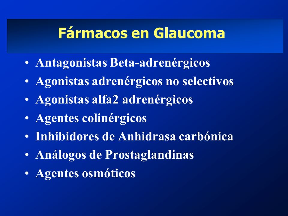 Fármacos en Glaucoma Antagonistas Beta-adrenérgicos Agonistas adrenérgicos no selectivos Agonistas alfa2 adrenérgicos Agentes colinérgicos Inhibidores