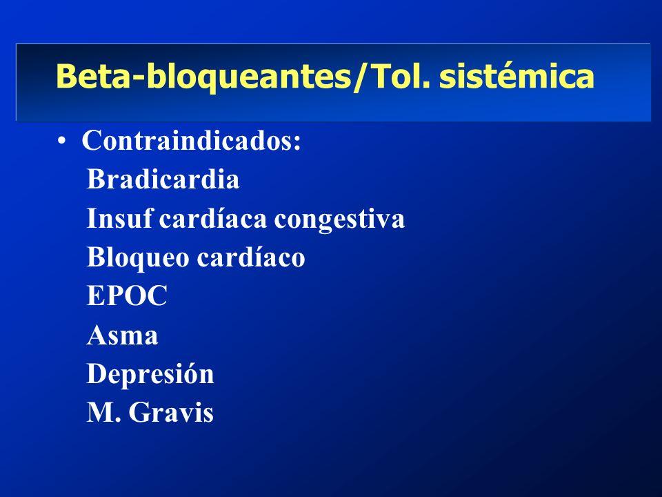 Beta-bloqueantes/Tol. sistémica Contraindicados: Bradicardia Insuf cardíaca congestiva Bloqueo cardíaco EPOC Asma Depresión M. Gravis