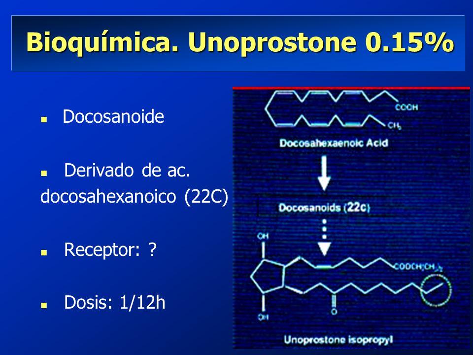 Bioquímica. Unoprostone 0.15% Bioquímica. Unoprostone 0.15% Docosanoide n Derivado de ac. docosahexanoico (22C) n Receptor: ? n Dosis: 1/12h