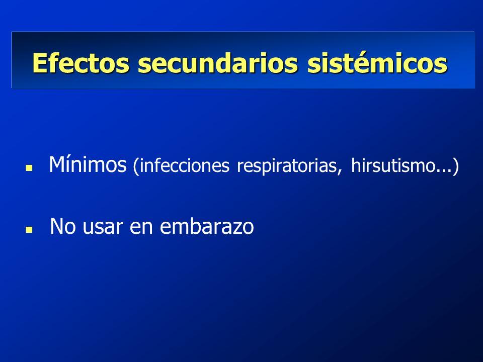 Efectos secundarios sistémicos Efectos secundarios sistémicos Mínimos (infecciones respiratorias, hirsutismo...) n No usar en embarazo